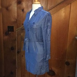 Denim Chambray Shirt Dress With Pockets